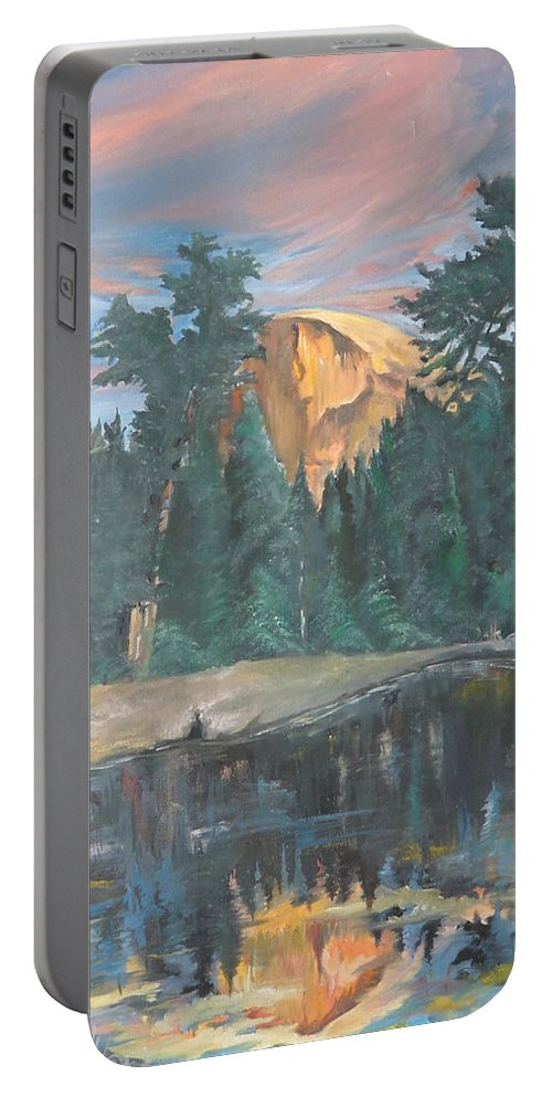 Sunset Portable Battery Charger featuring the painting Half Dome Sunset by Travis Day