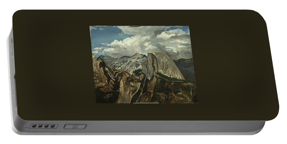 Portable Battery Charger featuring the painting Half Dome by Travis Day