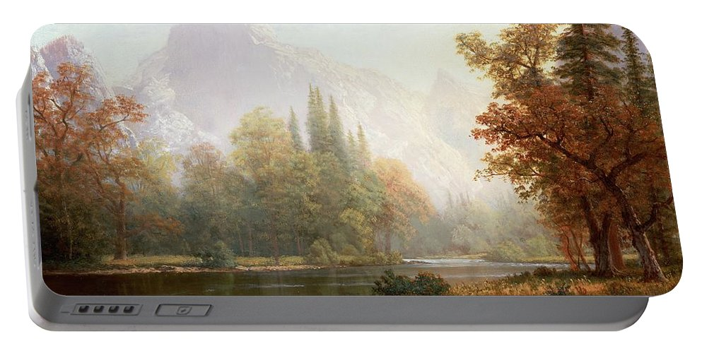 Albert Bierstadt Portable Battery Charger featuring the painting Half Dome Yosemite by Albert Bierstadt