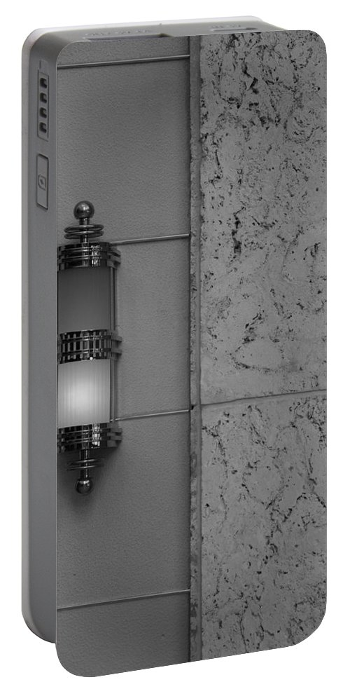Sconce Portable Battery Charger featuring the photograph Half Lit Wall Sconce by Rob Hans