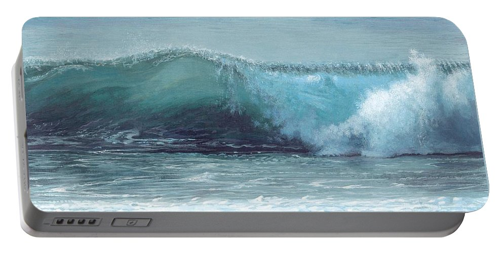Beach Portable Battery Charger featuring the painting Half Moon Bay by Elaine Bawden