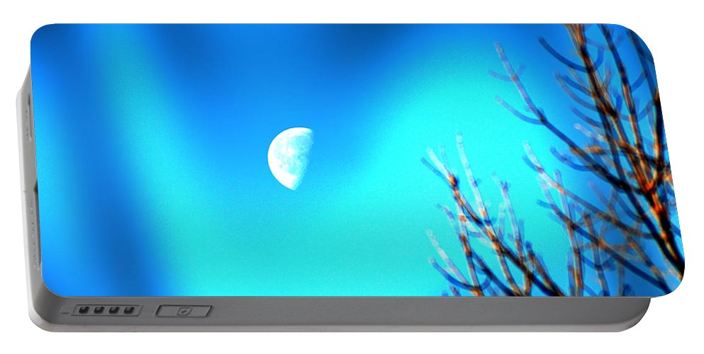 Moon Portable Battery Charger featuring the photograph Half Moon by Bill Cannon