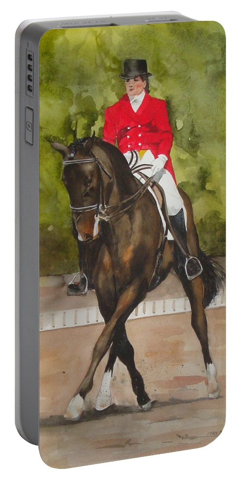 Horse Portable Battery Charger featuring the painting Half-pass To The Right by Jean Blackmer