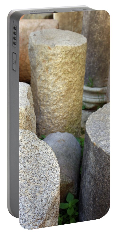 Pillar Portable Battery Charger featuring the photograph Half Pillars by Munir Alawi