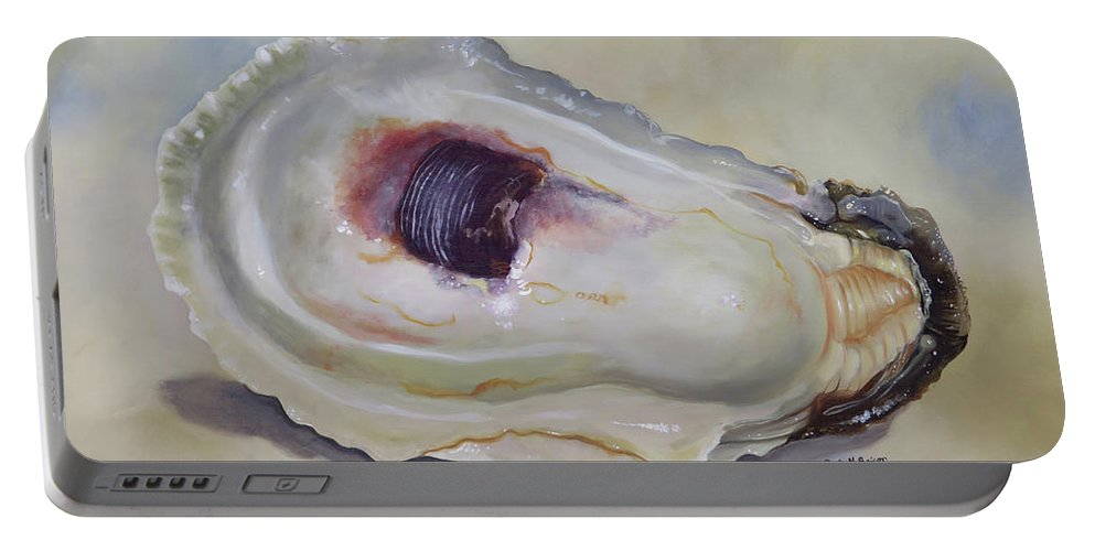 Oyster Shell Portable Battery Charger featuring the painting Half Shell by Phyllis Beiser