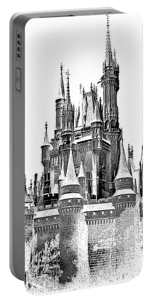 Castle Portable Battery Charger featuring the photograph Hall Of The Snow King Monochrome by Steve Harrington