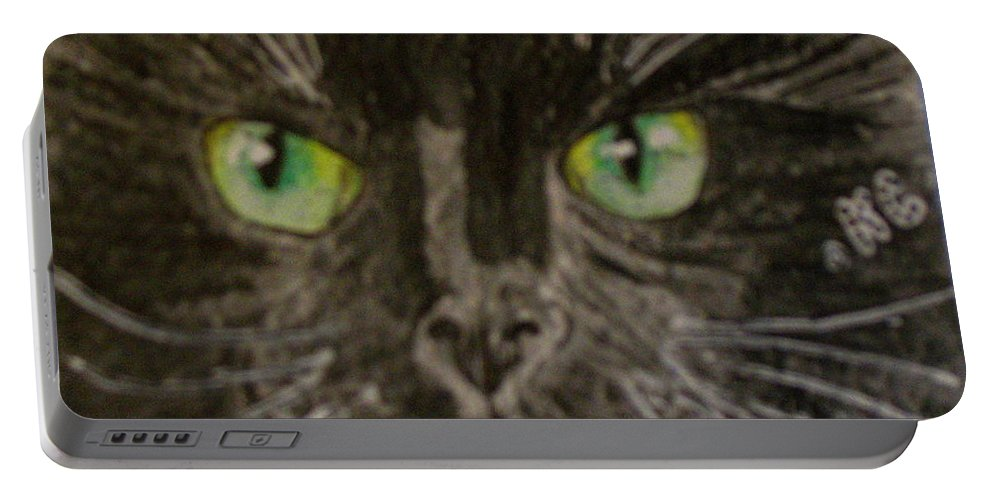Halloween Portable Battery Charger featuring the painting Halloween Black Cat I by Kathy Marrs Chandler