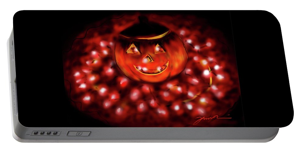 Halloween Portable Battery Charger featuring the painting Halloween Lights by Jean Pacheco Ravinski
