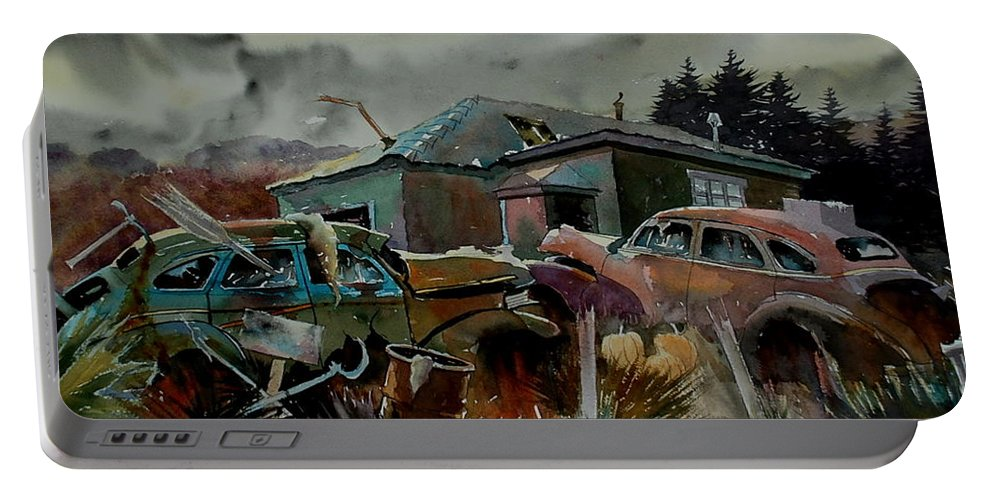 Cars Portable Battery Charger featuring the painting Halloween On The Hill by Ron Morrison