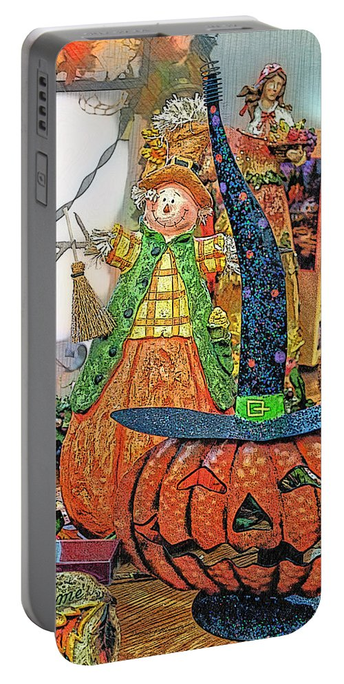 Halloween Portable Battery Charger featuring the photograph Halloween Scarecrow And Pumpkin Pa 02 Vertical by Thomas Woolworth