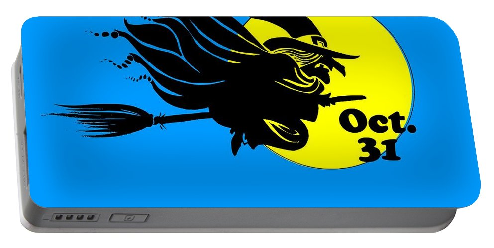 Religion Portable Battery Charger featuring the digital art Halloween Witch #2 by Frederick Holiday