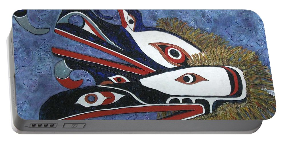 North West Native Portable Battery Charger featuring the painting Hamatsa Masks by Elaine Booth-Kallweit
