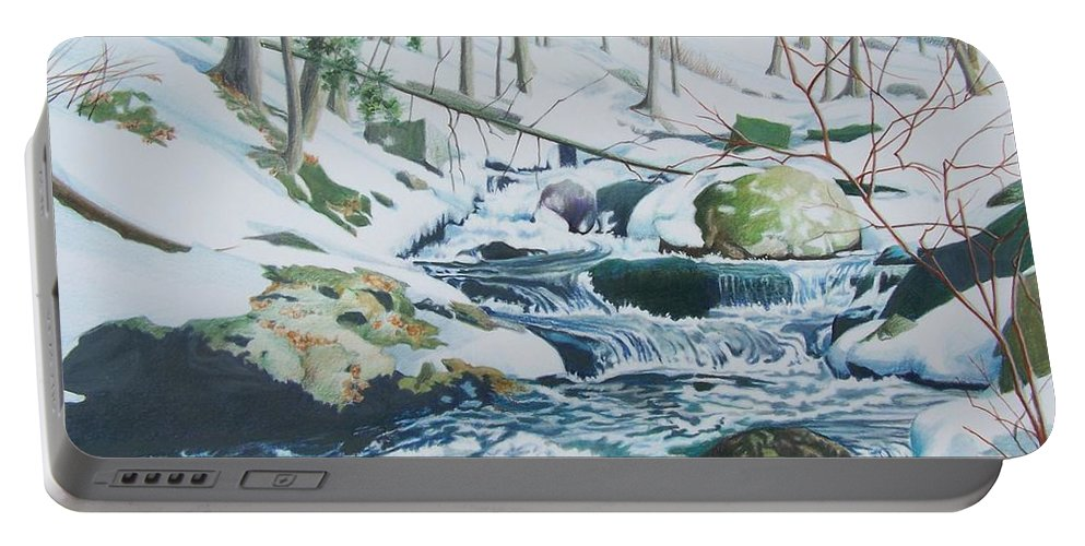 Snow Portable Battery Charger featuring the mixed media Hamburg Mountain Stream by Constance Drescher