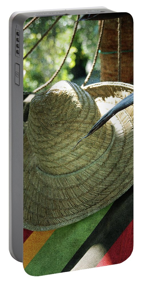 Hammock Portable Battery Charger featuring the photograph Hammock Greetings by Susanne Van Hulst