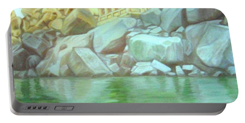 Hampi Portable Battery Charger featuring the painting Hampi On Tungabadra 2 by Usha Shantharam