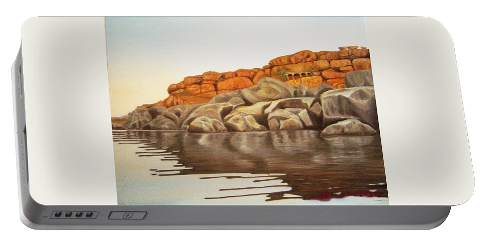 Hampi Portable Battery Charger featuring the painting Hampi On Tungabadra by Usha Shantharam