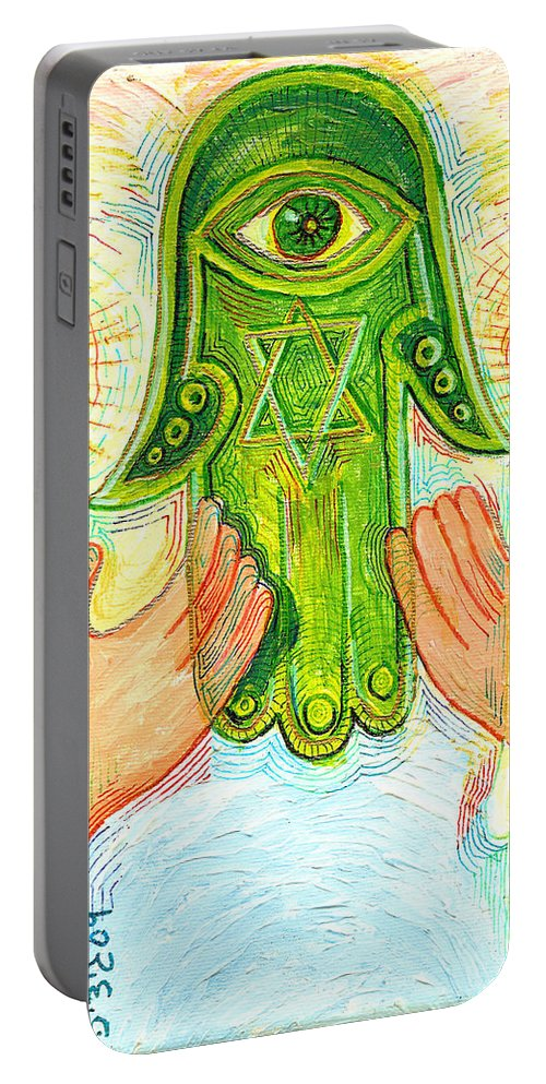 Drawing Portable Battery Charger featuring the painting Hamsa by Gideon Cohn