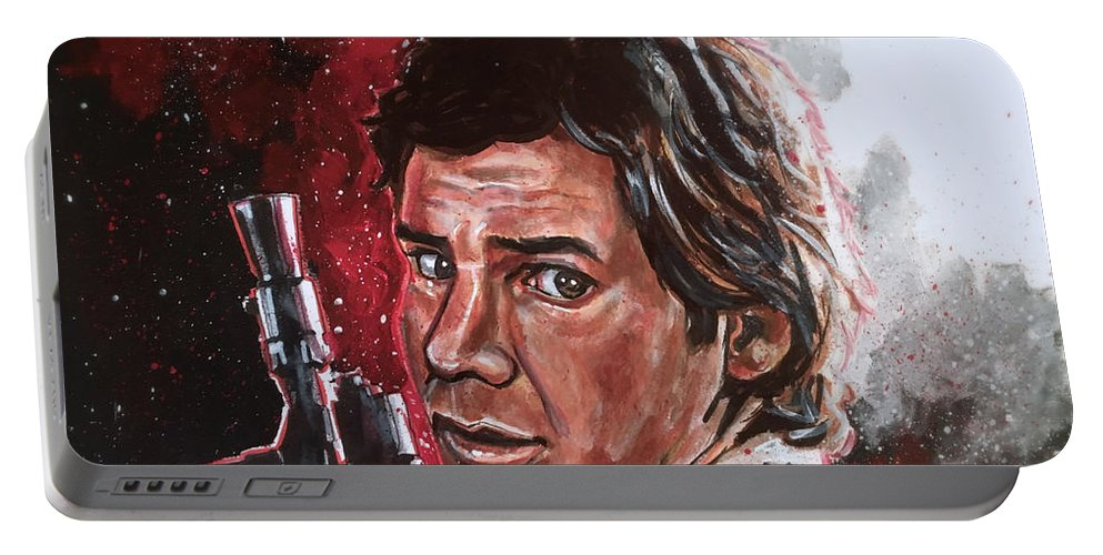 Han Solo Portable Battery Charger featuring the painting Han Solo by Joel Tesch