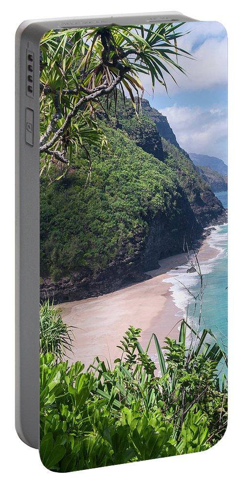 Na Pali Coast Portable Battery Charger featuring the photograph Hanakapiai Beach - Kalalau Trail - Kauai Hawaii by Brian Harig