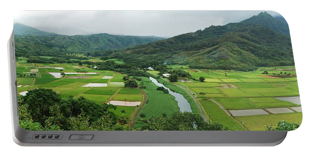 Hanalei Portable Battery Charger featuring the photograph Hanalei Taro Fields by Michael Peychich