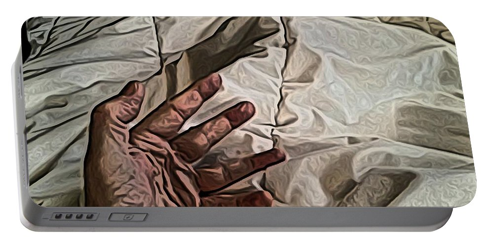 Hand Portable Battery Charger featuring the digital art Hand On Comforter by Ron Bissett