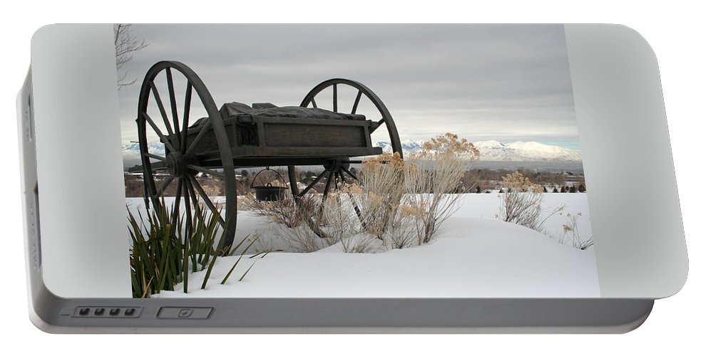 Handcart Portable Battery Charger featuring the photograph Handcart Monument by Margie Wildblood