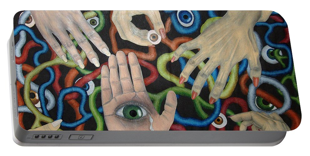 Collage Portable Battery Charger featuring the drawing Hands And Eyes by Nancy Mueller