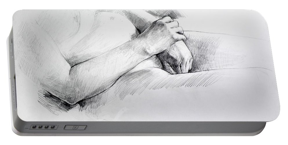 Life Portable Battery Charger featuring the drawing Hands by Harry Robertson
