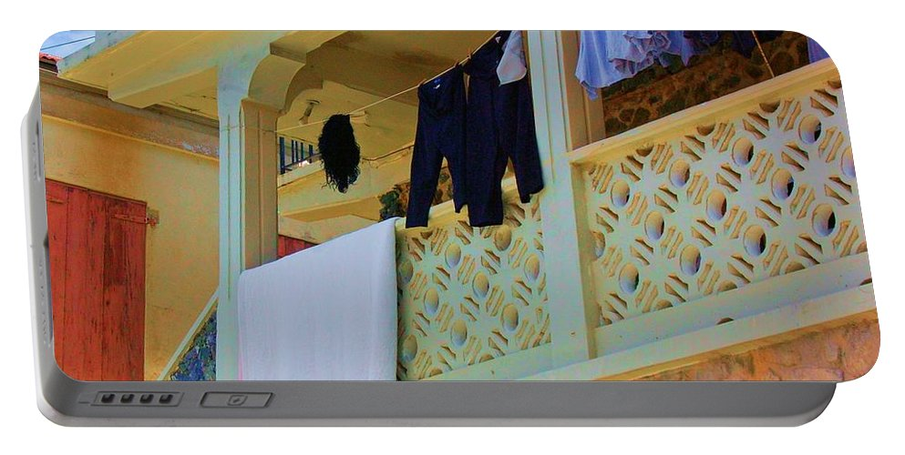 Laundry Portable Battery Charger featuring the photograph Hang Em High by Debbi Granruth