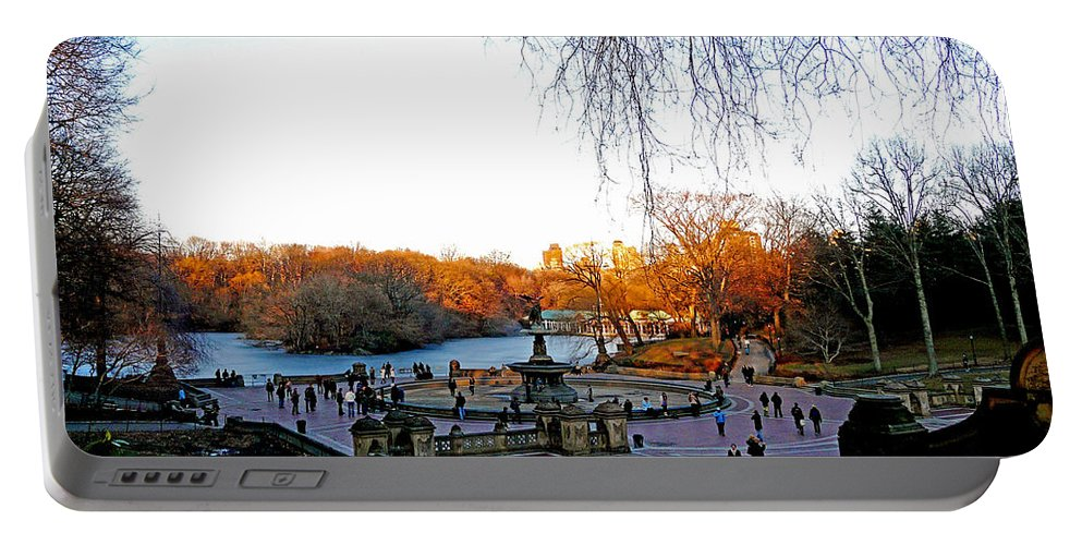 Monument Portable Battery Charger featuring the photograph Hangin' At Bethesda Fountain by Kendall Eutemey