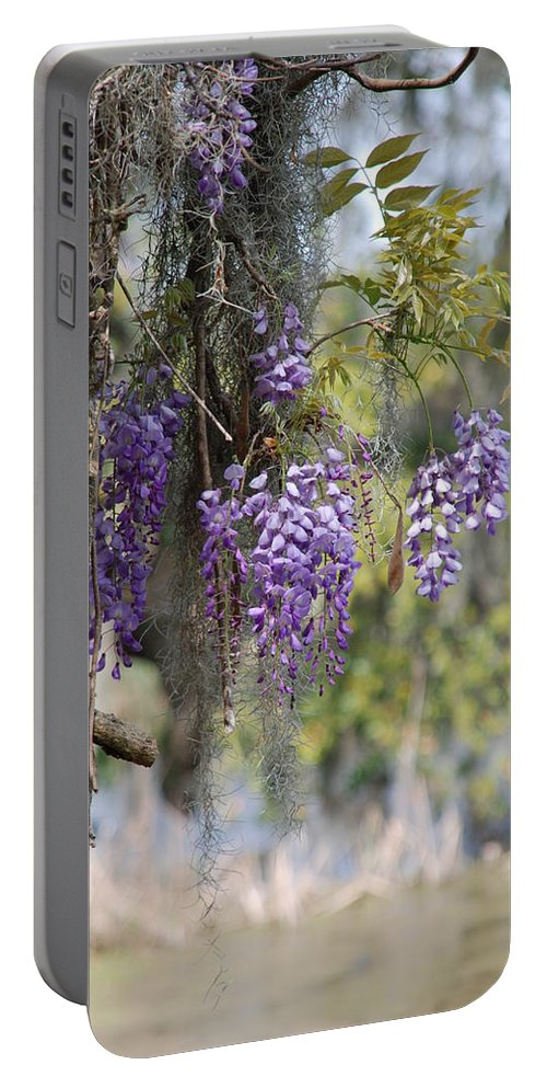 Flower Photography Portable Battery Charger featuring the photograph Hanging Down by Susanne Van Hulst