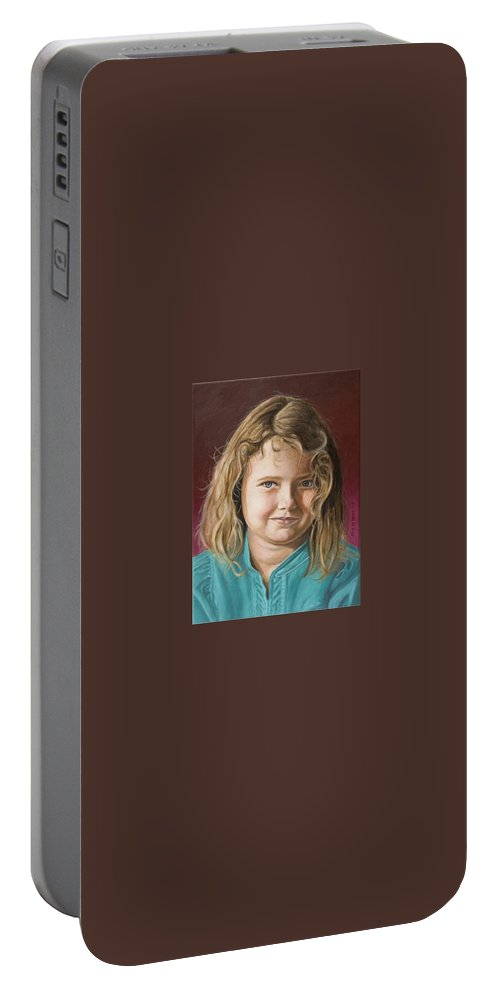 Portrait Portable Battery Charger featuring the painting Hanna by Rob De Vries