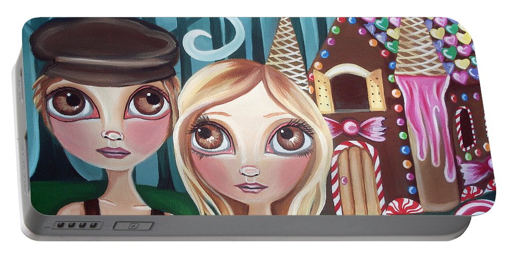 Hansel Portable Battery Charger featuring the painting Hansel And Gretel by Jaz Higgins