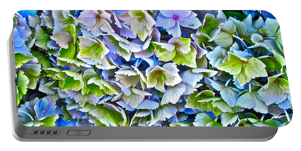 Photograph Of Hydrangea Portable Battery Charger featuring the photograph Hanson Hydrangea by Gwyn Newcombe
