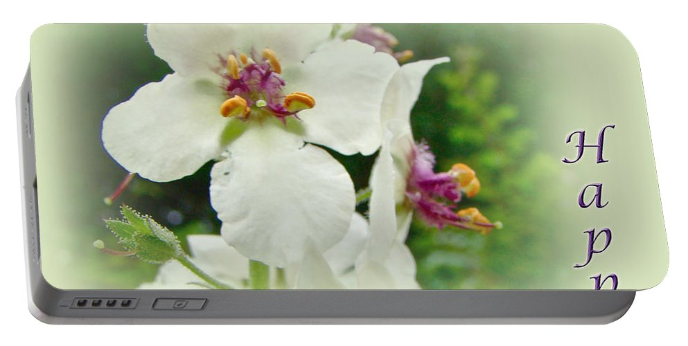 happy Birthday Portable Battery Charger featuring the photograph Happy Birthday - Floral - Moth Mullein by Mother Nature