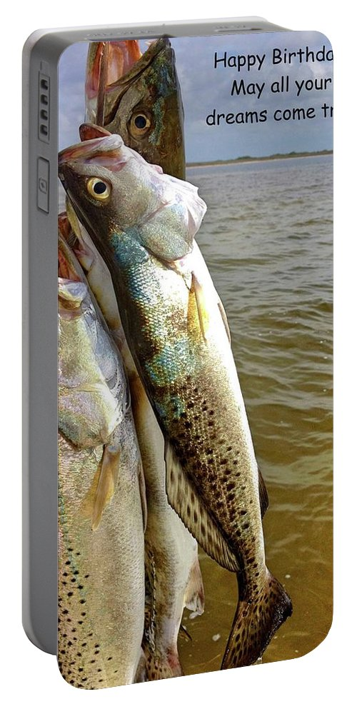 Happy Birthday Card Portable Battery Charger featuring the photograph Happy Birthday Fisherman by Kristina Deane