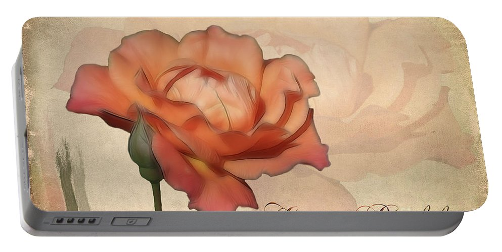 Flower Portable Battery Charger featuring the photograph Happy Birthday Peach Rose Card by Teresa Zieba