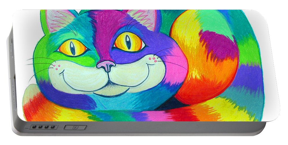 Cat Portable Battery Charger featuring the drawing Happy Cat by Nick Gustafson