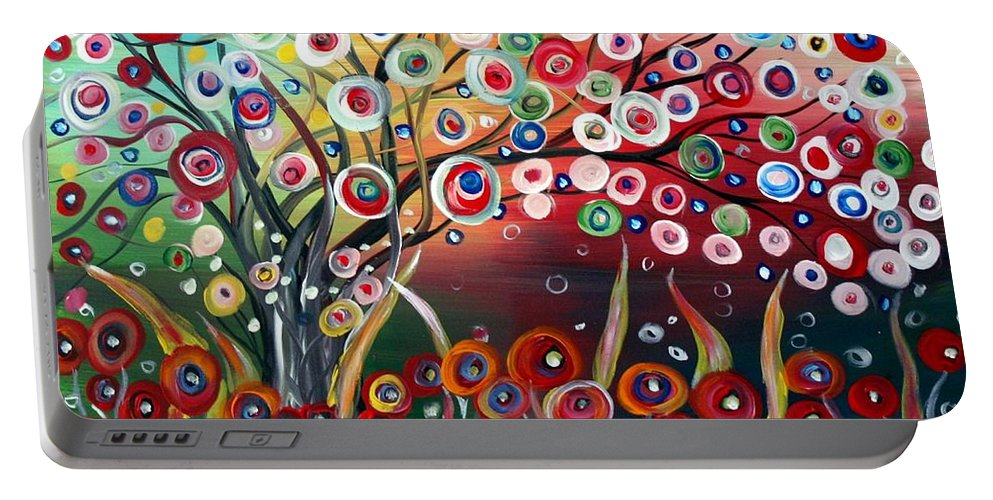 Landscape Portable Battery Charger featuring the painting Happy Days by Luiza Vizoli