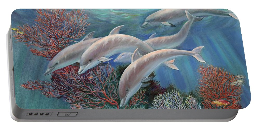 Dolphin Portable Battery Charger featuring the painting Happy Family - Dolphins Are Awesome by Svitozar Nenyuk