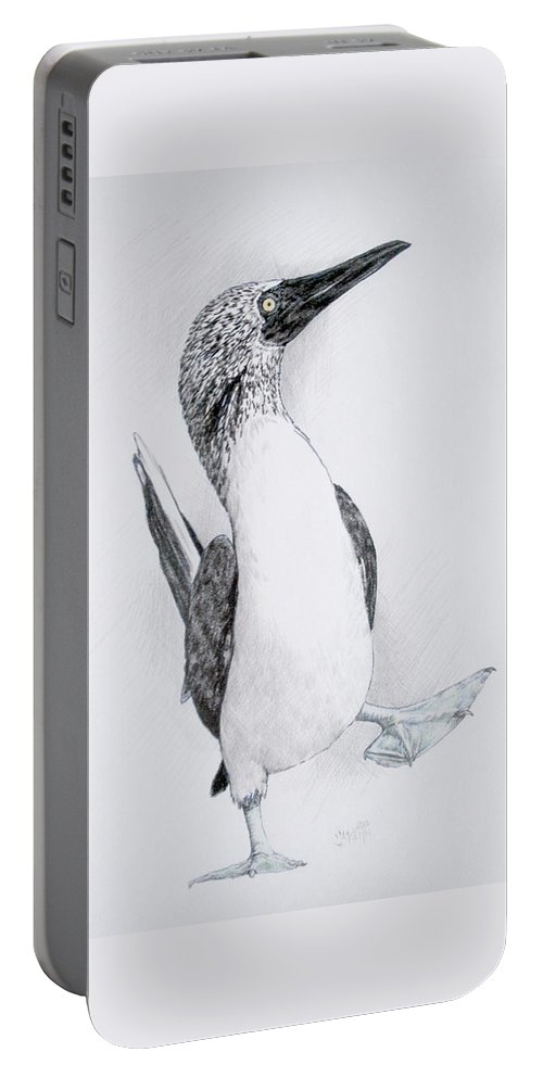 Booby Portable Battery Charger featuring the drawing Happy Feet by Barbara Keith