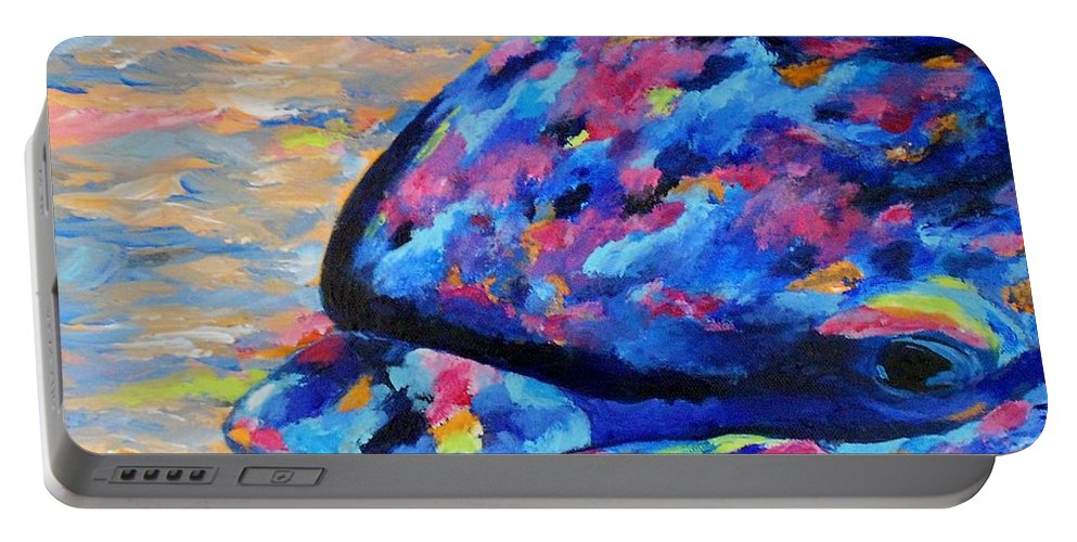 Dolphin Portable Battery Charger featuring the painting Happy Guy by Jamie Frier