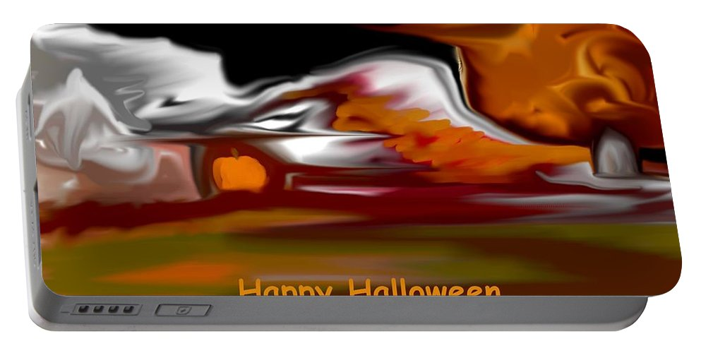 Abstract Digital Painting Portable Battery Charger featuring the digital art Happy Halloween by David Lane