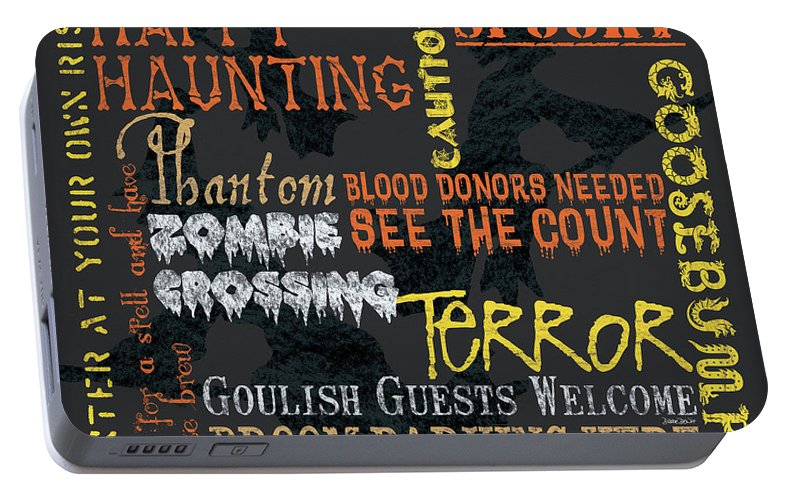 Halloween Portable Battery Charger featuring the painting Happy Haunting Typography by Debbie DeWitt