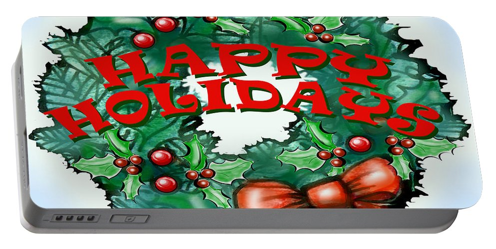 Happy Holidays Portable Battery Charger featuring the greeting card Happy Holidays by Kevin Middleton