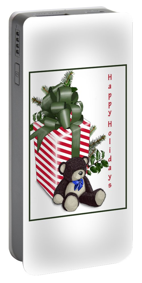 Christmas. Holidays Portable Battery Charger featuring the digital art Happy Holidays by Lois Boyce