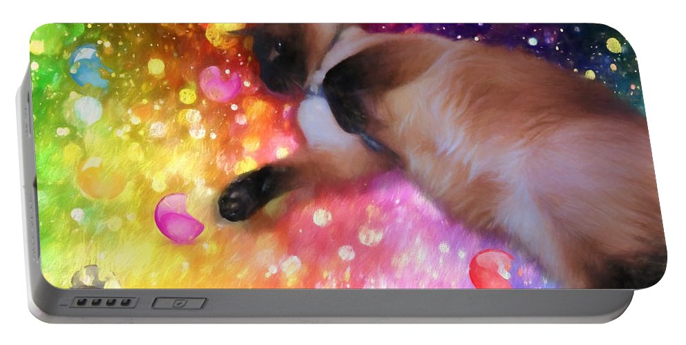 Siamese Portable Battery Charger featuring the digital art Happy Holidays by Theresa Campbell