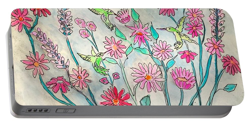 Hummingbird Portable Battery Charger featuring the painting Happy Hummingbirds by Anne Sands