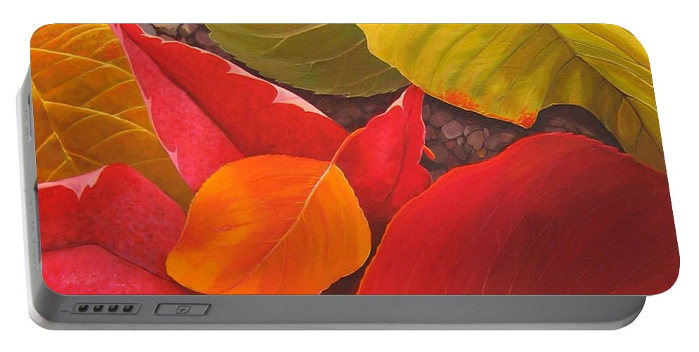 Autumn Leaves Portable Battery Charger featuring the painting Happy Landings by Hunter Jay