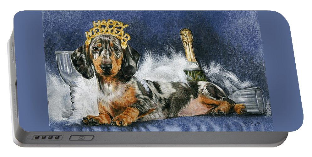 Dog Portable Battery Charger featuring the mixed media Happy New Year by Barbara Keith